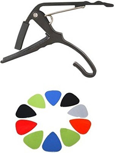 Mustang Combo Offer For Clutch Guitar Capo With Multicolor Pick (black)  available at amazon for Rs.169