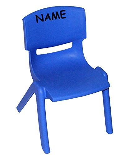 Stuhl für Kinder - BLAU - incl. Namen - für INNEN & AUßEN - stapelbar / kippsicher / bis 100 kg belastbar - Kindermöbel für Mädchen & Jungen - Plastik / Kunststoff - Kinderstuhl Stühle / Kinderzimmer / Plastikstuhl - Gartenmöbel