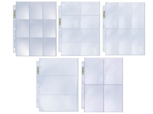 Ultra Pro 25 Coupon Album Pages Sample Pack - 5 Popular Styles Assorted Platinum Quality Binder Pages (9 8 6 4 3 Pocket Configuration) by