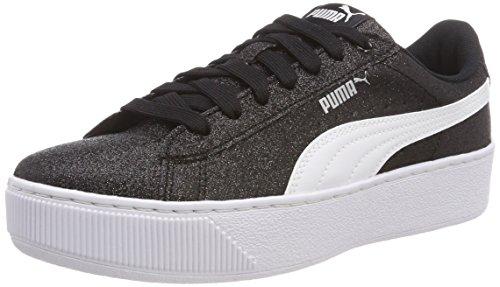 Puma Mädchen Vikky Platform Glitz JR Sneaker, Schwarz Black White Silver 02, 38 EU