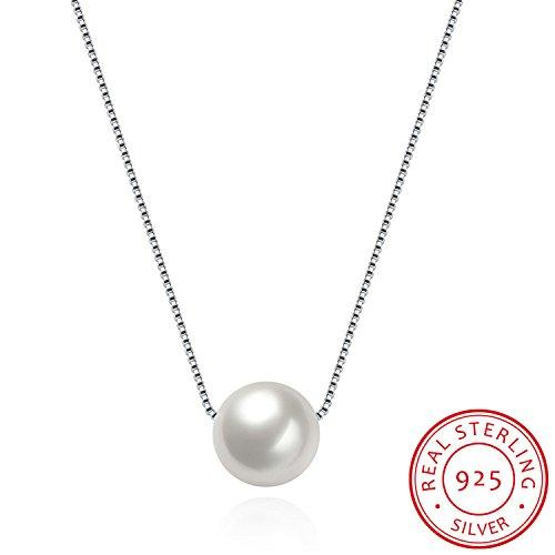 HMILYDYK, Damen-Halskette, echtes 925er-Sterlingsilber, Handarbeit, Anhänger: gezüchtete Süßwasserperle (groß und weiß) (Passende Kreuz Eheringe)