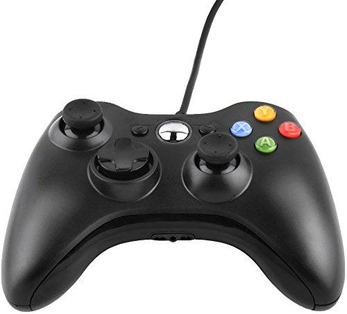 Xbox 360 Controller, NICEAO Wired USB Gamepad Game Joystick mit Dual Vibration Trigger Tasten für Xbox 360 Windows Schwarz