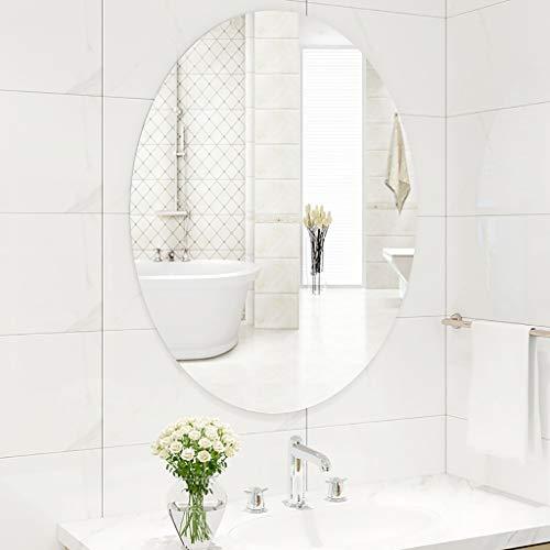 M-YN Espejo Pared de baño, Sin Marco de Espejo Oval Simple, de Pared Espejo de baño, Espejo de baño...