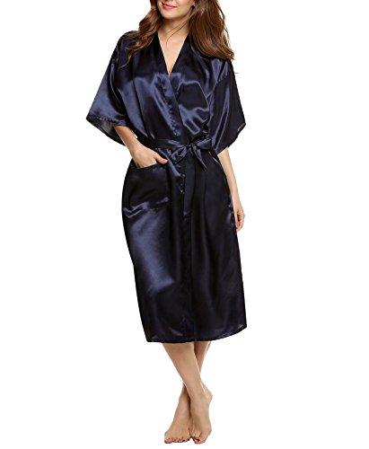 Encan Bademantel / Morgenmantel / Kimono für Damen, lang, klassisches Design, Satin Gr. M, dunkelblau (Klassische Kimono-robe)