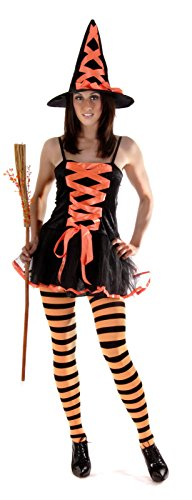 Damen Rosa oder Orange Schnürer Sexy Halloween Hexe Kostüm Kleid Outfit 8-12 - Orange