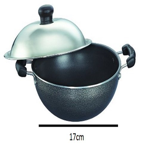 prestige omega select plus nonstick round base kadai with lid 17cm