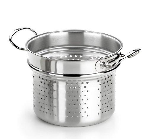 BRA Profesional - Cuece Pasta, 22 cm, Acero Inoxidable 18/10, Tapa de Cristal