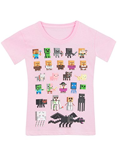 Minecraft - Camiseta para niñas - Minecraft - Rosa - 9 - 10 Años