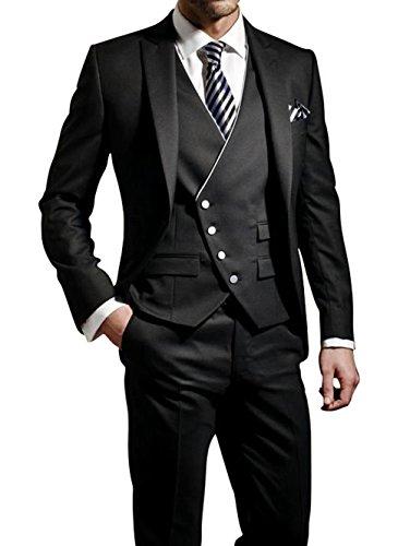 GEORGE Herren Anzug Tuxedos Smokingsakko Anzuege 3-Teilig Anzug Sakko,Anzug Hose,Weste 114,XXL, Dunkelgrau grau