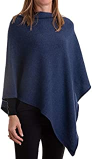 Poncho Misto Cashmere Donna Made in Italy Lana Merino Cachemire Nero Beige Bianco Blu Grigio Maglia Mantella S
