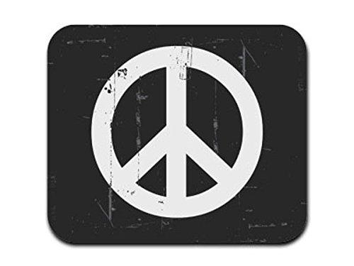 Distressed Peace Sign Symbol schwarz weiß Mousepad Mauspad - Distressed Weiß Computer