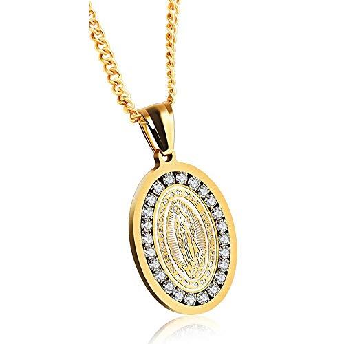 KERVINFENDRIYUN YY4 Accesorios Guadalupe Virgen María Collar Nuevo Regalo (Color : Gold)