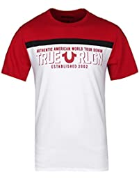 True Religion White & Ruby Red Fast U2 Football Crew Neck T-Shirt