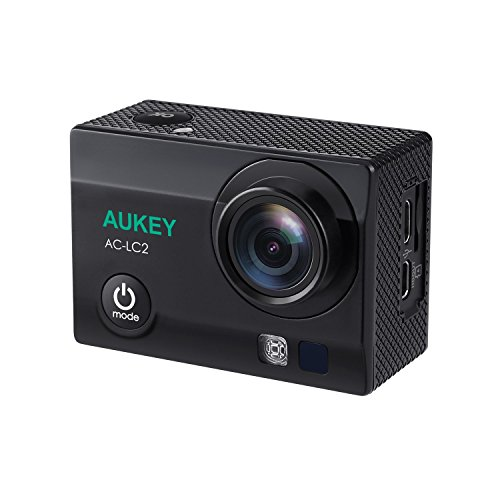 AUKEY Action Cam 4K Ultra HD, WiFi e 2.4 GHz Telecomando, Impermeabile, Grandangolo 170°, con Due Batterie e Accessori Kit (matt blackblack)