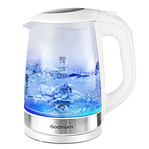 Wasserkocher Glas, Godmorn 2 Liter Elektrischer Wasserkessel, LED Innenbeleuchtung und Automatische Abschaltung, 2200 Watt Teekocher mit Überhitzungsschutz, BPA Frei, Weiß