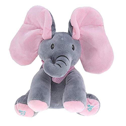 Trayosin Plüsch Elefant Singender Sprechender Plüschelefant Weichpuppe für Baby Kleinkinder (Grau-Pink)