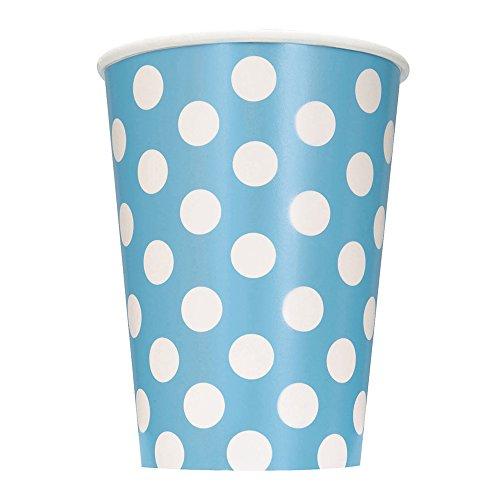 Unique Party - 37966 - Paquet de 6 Gobelets - Carton à Pois - 355 ml -Bleu Pastel