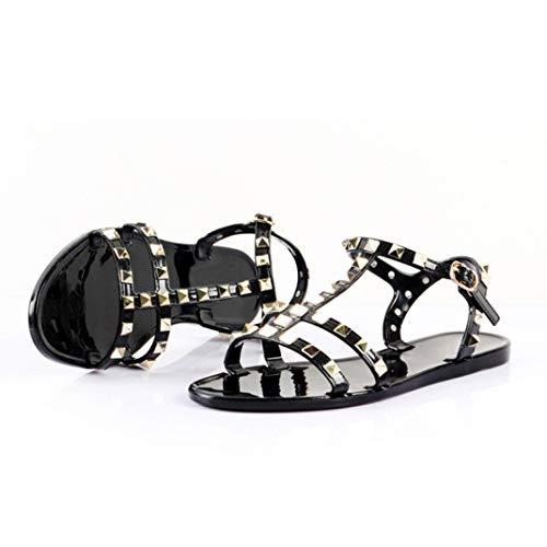 Frauen-Gladiator-T-Bügel-Gelee-Flache Sandelholze-Nieten besetzte geöffnete Zehe-Wölbungs-Bügel-rutschfeste Sommer-beiläufige Schuhe -