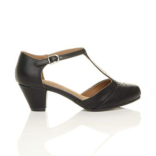 Damen Mitte Blockabsatz T-Riemen Ausgeschnitten Brogues Pumps Sandalen Größe 5 38 - 2