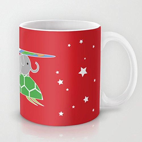 Dikouen Mundodisco de Cuatro Elefantes en una Tortuga Taza de café Mejor Regalo clásico de cerámica Material café o té Taza