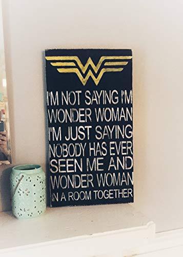 Eli231Abe Superhelden-Schild aus Holz, Wonder Women oder Captain America, schwarz mit weißem Schriftzug, versiegelt mit Polyy für Langlebigkeit. (Woman Wonder Seil)