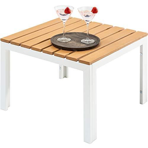 terfester Garten Tisch Orlando Lounge 60cm weiß stabile Beine aus Stahl Outdoor Gartentisch Outdoortisch ()