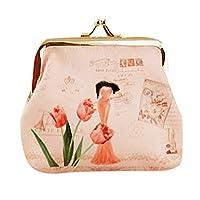 "Byeel Women Girls Vintage Flower Small Wallet Hasp Change Coin Purse Clasp Kisslock Clutch Bag (White, 4.73""X3.55"")"