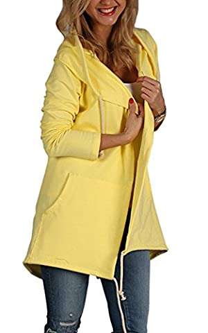Tomwell Womens Autumn Long Sleeves Lightweight Casual Irregular Hem Hoodie Open Front Cardigan Loose Sweatshirt Coat Long Jacket Yellow UK