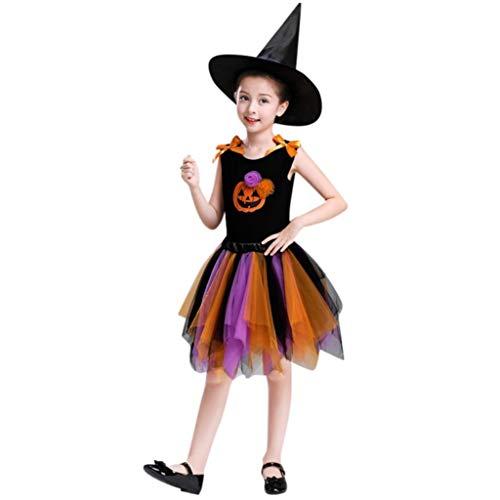 QinMM Kleinkind Kind Baby Mädchen Halloween Rock Tops Party Sets Hut Kürbis Print Kleidung Party Cosplay Orange Lila Für 24 Monate-10 Jahre (4T, Orange)