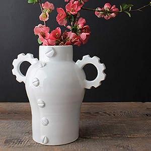 Amphorenförmige Vase, handgefertigte Keramik – mechanisches Design (21 x 19 x 12,5 cm)