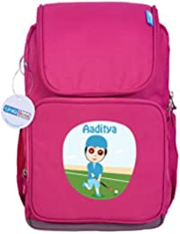 UniQBees Personalised School Bag With Name (Smart Kids Large School Backpack-Pink-Hockey Run)