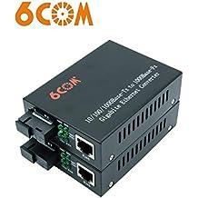 6COM un par de convertidor de medios Ethernet Gigabit, 1.25Gb/s, fibra