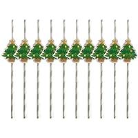 Pajitas de papel BESTONZON 10 piezas para Navidad, boda, fiesta de cumpleaños (árbol de Navidad 1)
