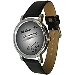 Whatever I'm Late Anyway Watch with Grey Graduated Face. numbers falling off. Genuine Leather Strap