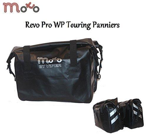 Moto Revo Pro wasserdicht Koffer Satteltasche Motorrad Roller Travel Touring Sport Sattel Koffer Satteltasche Heck Tasche mit 60l Hochleistung - Schwarz, One