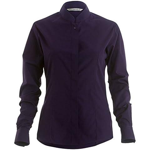 Collare del mandarino delle donne camicia Equipaggiata manica lunga