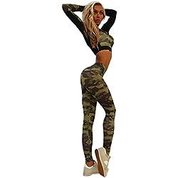HARRYSTORE Mujer Camuflaje pantalones de yoga deportivos Mujer pantalones elásticos y ajustados Polainas para correr (S, Camuflaje)