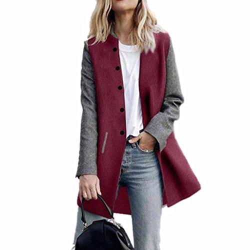 Longra Damen Trenchcoat Lang Mantel mit Tasche Damen Winterjacke Parka Cardigan Frauen Wasserfallkragen Wollmantel Übergangsjacke Outdoorjacke Lang Jacke (XL, Red)