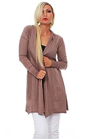 10215 Fashion4Young Damen Legere geschnittener Longjacke Jacke Long Jacke Cardigan 9 Farben (One Size (34 36 38), Cinder)