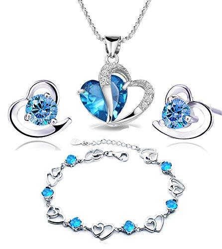 Findout azul blanco collar amatista colgante