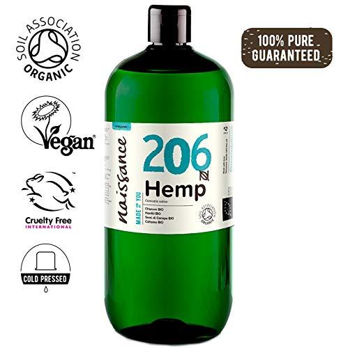 Naissance Olio di Semi di Canapa Pressato a Freddo Biologico 1L - Certificato Biologico, Vegan, Non Raffinato. Ricco in Omega 3, 6 e 9