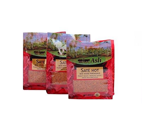 3 x 200g Asli Sate Hot Erdnuss Soße Satay Sauce Erdnusssauce Satee Saté Peanut Pamai Pai®