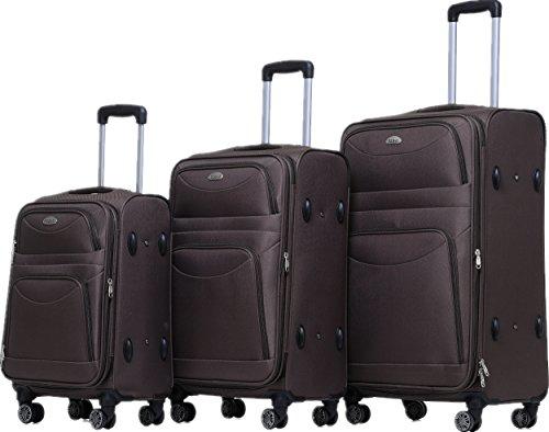 BEIBYE 8009 TSA Schloß Stoff Trolley Reisekoffer Koffer Kofferset Gepäckset (Braun, Set) - Set Tsa-schloss