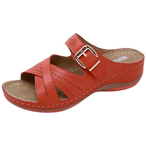 YU'TING ☀‿☀ Ciabatte con Zeppa da Donna Scarpe con Tacco Moda Pantofole da Passeggio per Pesci Casual Retro Pantofole Estate Ciabatte Dimagranti Fitness