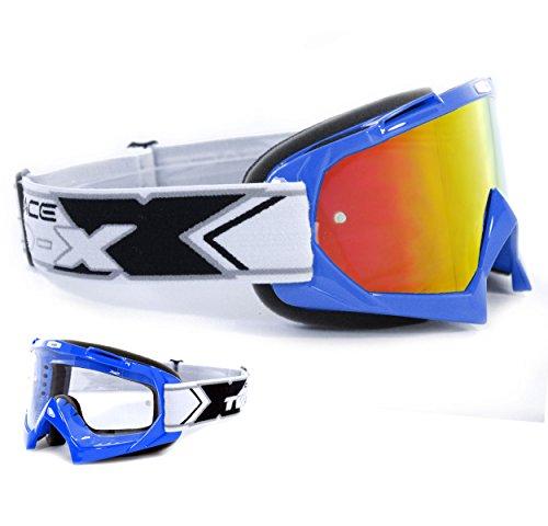 TWO-X Race Crossbrille blau Glas verspiegelt iridium - MX Brille Motocross Enduro Spiegelglas Motorradbrille Anti Scratch MX Schutzbrille