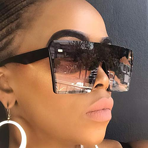 KJWELUQ Übergroße quadratische Sonnenbrille Damenmode Rot Schwarz Klare Linse One Men Shade Mirror