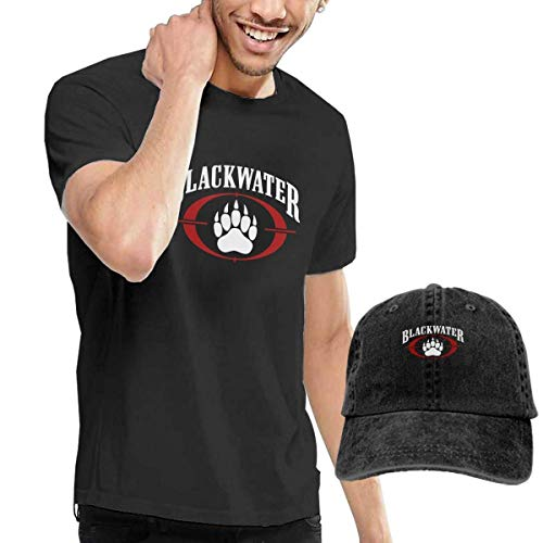 Herren Kurzarmshirt 2Pcs Men's Blackwater Tee T Shirt Short Sleeve Cotton T-Shirt Sports Tops Shirts Youth Boys Vintage Tshirt + Hat Men (Am Besten 70's Und 80's Kostüm)