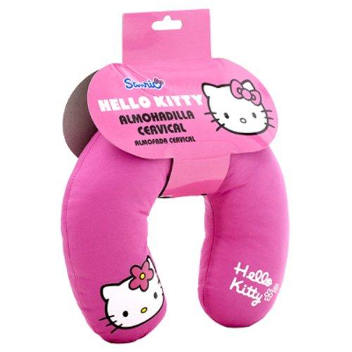 ABC PARTS Cojin para coche para niños - en forma de U - Hello Kitty - Almohadilla cervical – Rosa