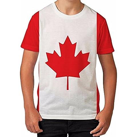 T shirt da bambino a stampa intera Bandiera Canada – Vestiti estivi / top stampati