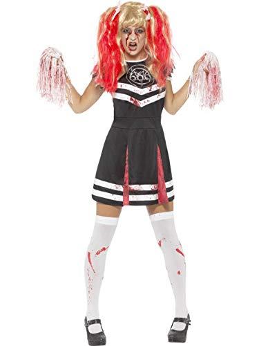 erdbeerclown - Damen Frauen Kostüm satanische Cheerleaderin mit Pom Poms im Horror Zombie Look, perfekt für Halloween Karneval und Fasching, M, Schwarz
